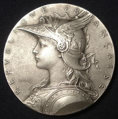 Art Nouveau French Marianne Shooting Silver Plated Boxed Medal by Roty