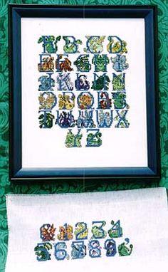 Dragon cross-stitch alphabet! Love it!