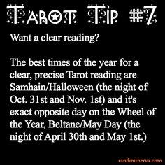 Divination:  #Tarot Tip #7. Halloween is time to divine, connect w ancestry, old folk ways, handicrafts. Love