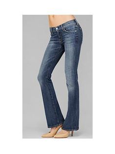 What To Look For: If your body is more straight up and down, opt for a mid-rise jean with a slight boot-cut opening or flare to create a curvier silhouette from top to bottom.    7 For All Mankind Skinny Bootcut in Malibu Sands, $189, 7forallmankind.com