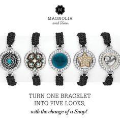 Magnolia & Vine jewelry & Interchangeable snaps. www.MyMagnoliaAndVine.com/1344
