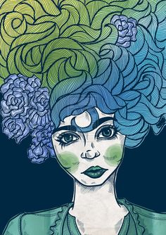 Spiral Hair by curlycuh on deviantART Flower Hair, Flowers In Hair, Hair Looks, Zentangle, Line Art, Spiral, Deviantart, Ink, Drawings