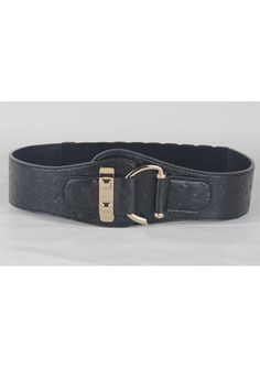 This waist belt crafted in PU, featuring ostrich skin pattern to the main, metal hook fastening to front, an elasticated insert to the reverse.$21