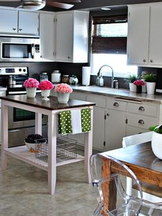 This is such a cute newlywed kitchen for a first home.