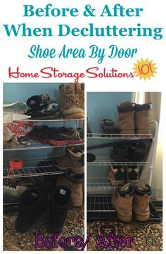 Before and after when decluttering shoe area by the door, to keep the entryway of your home looking nice, plus make it easier for family members to find the shoes they need before leaving the house {on Home Storage Solutions