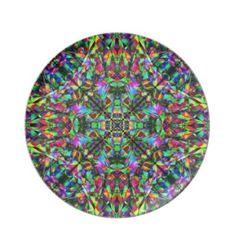Green and Rainbow Mandala Pattern Dinner Plates $28.10
