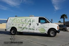 Simple design can go a long way. New Leaf van wrap installed in Palm Desert, CA. Contact DesertWraps.com at 760-935-3600.