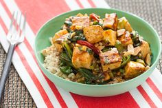 Kung Pao Tofu with Chinese Broccoli & Brown Rice by blueapron #Tofu #King_Pao #Broccoli