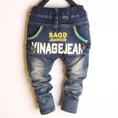 Дети Детские Детские брюки брюки молодежные джинсы, которые корейский случайный хлопок вязать брюки с связанные ноги Джокер  — 2165.49р.
