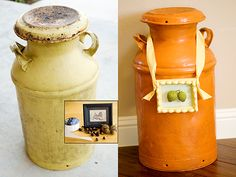 old metal milk jug made into crafts | ... wanted to incorporate them somehow into decorating this milk jug