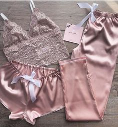 My hubby loves satin.oh lala! Jolie Lingerie, Lingerie Outfits, Pretty Lingerie, Women Lingerie, Sexy Lingerie, Pajama Outfits, Casual Outfits, Cute Outfits, Fashion Outfits