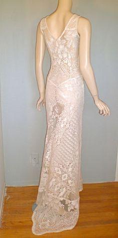 Victorian Antique Cream LACE Wedding Dress