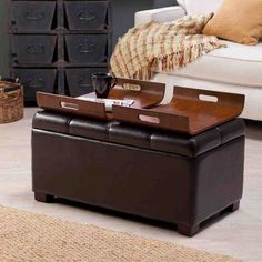 Cheap Storage Ottoman Bench - Home Furniture Design Coffee Table With Storage, Tray Table, Footstool Coffee Table, Coffee Table Design, Cupboard Storage, Ottoman Coffee Table Tray, Brown Leather Ottoman, Coffee Table Tray, Leather Ottoman Coffee Table