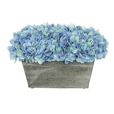 Highland Dunes Artificial Rectangle Hydrangea in Planter Flower Color: Blue