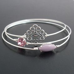 Morning Dew - Purple, Lavender, and Silver Stacking Bangle Set, Shades of Silvers Glistening in the Early Morning Light, Silver Bangle Set.