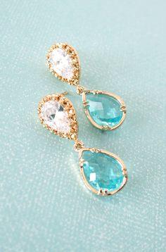 Cubic Zirconia Aquamarine Teardrop Earrings, Gifts for her, Bridal Earrings, Bridesmaid earrings, something blue, gold Wedding, www.glitzandlove.com
