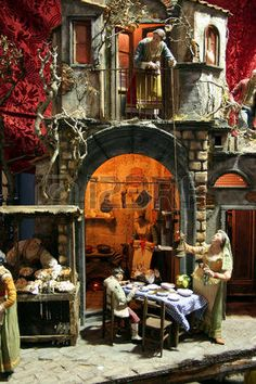 Artistic and traditional neapolitan crib Pottery Houses, Christmas Nativity Scene, Miniature Houses, Islamic Art, Cribs, Miniatures, Xmas, Traditional, Cool Stuff