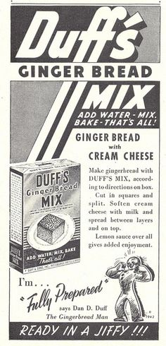 Vintage Duff's Gingerbread Mix ad (1942).