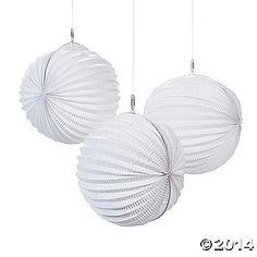 10Inch. $15/dozen. Small White Party Lanterns