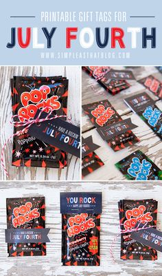 Simple + inexpensive July Fourth treat idea. Pop Rocks and Free Printable Gift Tags!