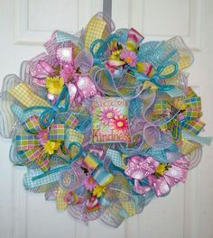PRETTY SPRING DECO MESH RIBBON WREATH  - Free Shipping #DecoMesh