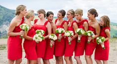 Red dresses - white bouquets - bridesmaid ideas The Westin Riverfront Resort And Spa Wedding Studio JK Photography