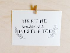 This eco-friendly card is made from 100% cotton. Printed on high quality card stock. Features a branch design around the words Meet Me Under the