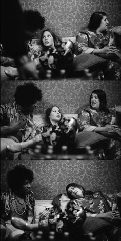 Jimi Hendrix, Michelle Phillips and Cass Elliot backstage at the Hollywood Bowl, 1967