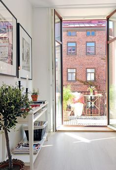 love the light. would do almost anything for tall window/doors that open like that