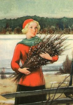 Vintage Winter - Rudolf Koivu - Also see N. Vintage Christmas Cards, Christmas Images, Vintage Cards, Inspiration Art, Winter Magic, Vintage Winter, 6 Photos, Pictures, Paintings I Love