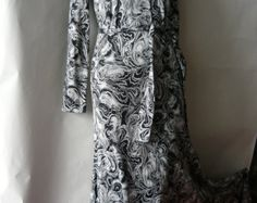 Vintage Diane Von Furstenberg Maxi Dress DVF Italy 4 6 8 Mod Cotton Small 1970s Black White Optic print
