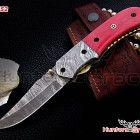 damascus custom handmade folding hunting knife,camel bone handle