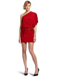 Wrapper Juniors One Shoulder Dress With Gold Metal Rings Belt, Red, X-Small | Traveling Of Life