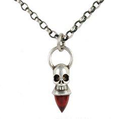 Voodoo Skull Necklace - Silver & Garnet