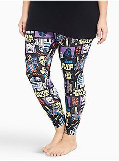 """There's been an awakening...not with you, though! So comfy, you'll have trouble getting out of bed, the form-fitting black sleep leggings feel the force with a bold character print that has major throwback vibes.<div><br></div><div><b>Search SKU 10717074 for matching sleep tank<br></b><div><ul><li style=""""LIST-STYLE-POSITION: outside !important; LIST-STYLE-TYPE: disc !important"""">28"""" inseam</li><li style=""""LIST-STYLE-POSITION: outside !important; LIST-STYLE-TYPE: disc…"""