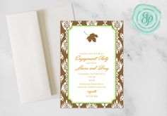 Fall Invitation | Engagement Party | 5x7 Invitation | A7 Envelopes | Download and Printing Avaliable | Custom Invitation