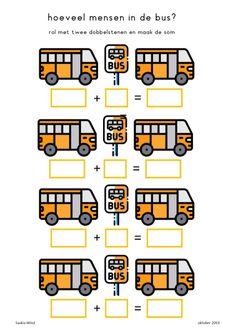 Bussommen;Hoeveel-in-de-bus-plus-en-min Juf Saskia heeft voor groep 3 een extra oefening gemaakt voor bussommen tip;gebruik de rekenbus of een rekenrek
