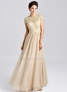 A-Line/Princess Scoop Neck Floor-Length Ruffle Lace Beading Chiffon Lace Zipper Up Sleeves Short Sleeves 2015 Champagne Spring Fall General Mother of the Bride Dress