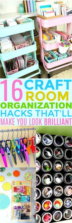 These 16 Craft Room Organization Hacks Are So CUTE and easy! I love useful tips like these to get my home in tip top shape!