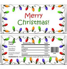 Personalized Candy Bar Wrappers - Christmas - Christmas Lights CHR007