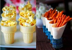"""Olympic """"torches,"""" made with ice cream cake cups, popcorn, and sweet potato fries"""