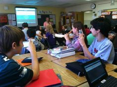 ThoreauMiddleSchool ‏@ThoreauMS @ChristoffMath + personal devices + laptops + math questions + instant results via @Socrative = engaged stu...