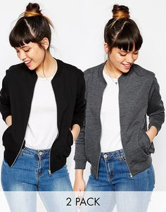 ASOS+The+Bomber+Jacket+In+Jersey+2+Pack+Save+10%