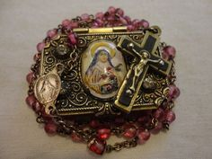 ANTIQUE Brass French ROSARY Pink St Teresa Bubble Glass Rhinestone Box Vintage