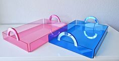 Lucite/Acrylic Neon Blue/Pink Tabletop Serving/Decor Tray With Matching Mirrored Handles by JoNaiDesigns on Etsy https://www.etsy.com/listing/489403681/luciteacrylic-neon-bluepink-tabletop