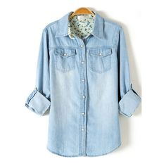 Light Blue Lapel Long Sleeve Bleached Denim Blouse (15 AUD) ❤ liked on Polyvore featuring tops, blouses, romwe, shirts, blusas, blue top, blue long sleeve top, bleached denim shirt, extra long sleeve shirts and shirts & tops