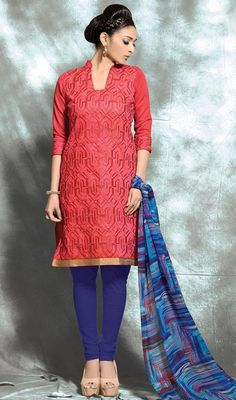 Make a striking entrance with this churidar suit in red color embroidered cotton. You will see some interesting patterns done with lace and resham work. #cottonstraightdresses #indianwearoutfits #womenoutfit