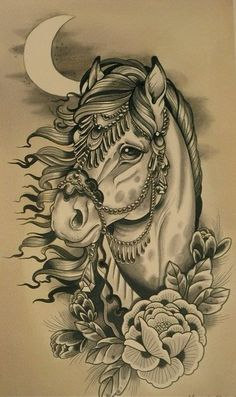 Traditional grey-ink decorated horse in moon light tattoo design
