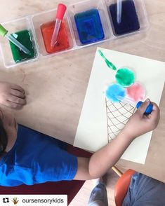 How about this for a fun idea? Just stick cotton pads to your page and draw a simple cone shape underneath. Use pipettes and food… Dramatic Play Themes, Food Drawing, Cotton Pads, Montessori, Classroom Themes, Handmade Home Decor, Beach Themes, Fun Learning, Diy Cards