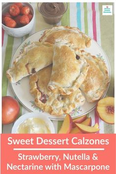 Check out these delicious sweet dessert calzones - includes 2 awesome recipes...strawberry, nutella calzones and nectarine with mascarpone calzones. Seriously, fruit calzones are delish. #calzonerecipe #sweetcalzonerecipe #fruitcalzone #nutellarecipe #strawberryrecipe #nectarinerecipe #dessertcalzonerecipe Easy No Bake Desserts, Sweet Desserts, Delicious Desserts, Yummy Recipes, Vegetarian Recipes, Nutella Recipes, Chocolate Recipes, Nectarine Recipes, Mascarpone